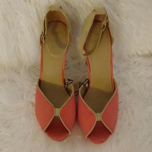 Forever 21 Tan and Coral Heels, Size 7.5